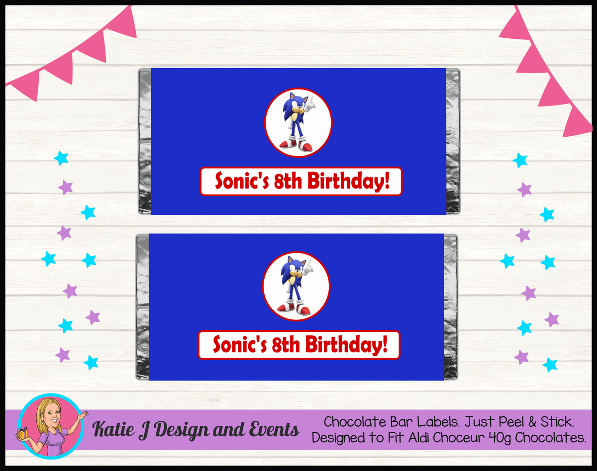 Personalised Sonic Birthday Chocolate Labels Wrappers
