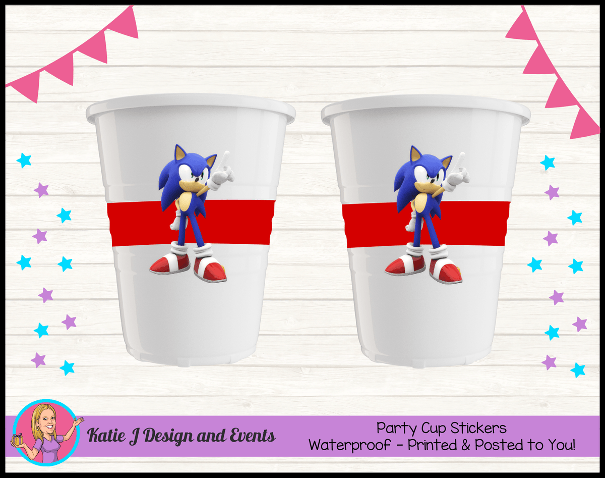 Personalised Sonic the Hedgehog Party Cup Stickers Cups