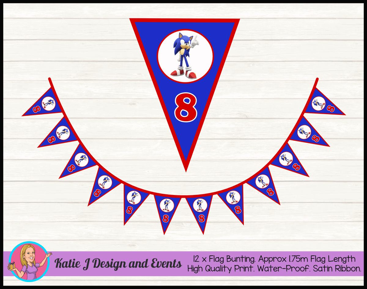Personalised Sonic the Hedgehog Birthday Party Flag Bunting