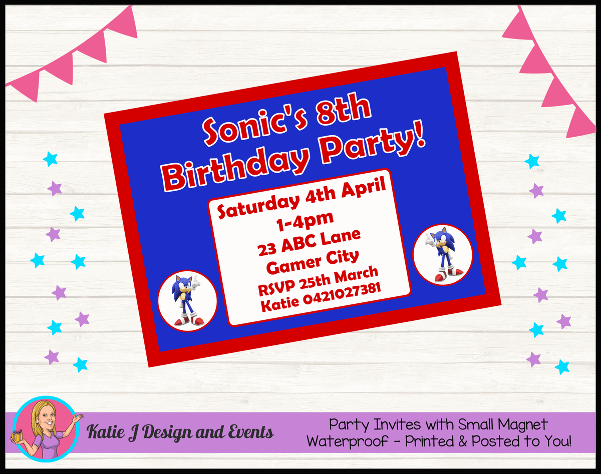Personalised Sonic the Hedgehog Birthday Party Invites Invitations