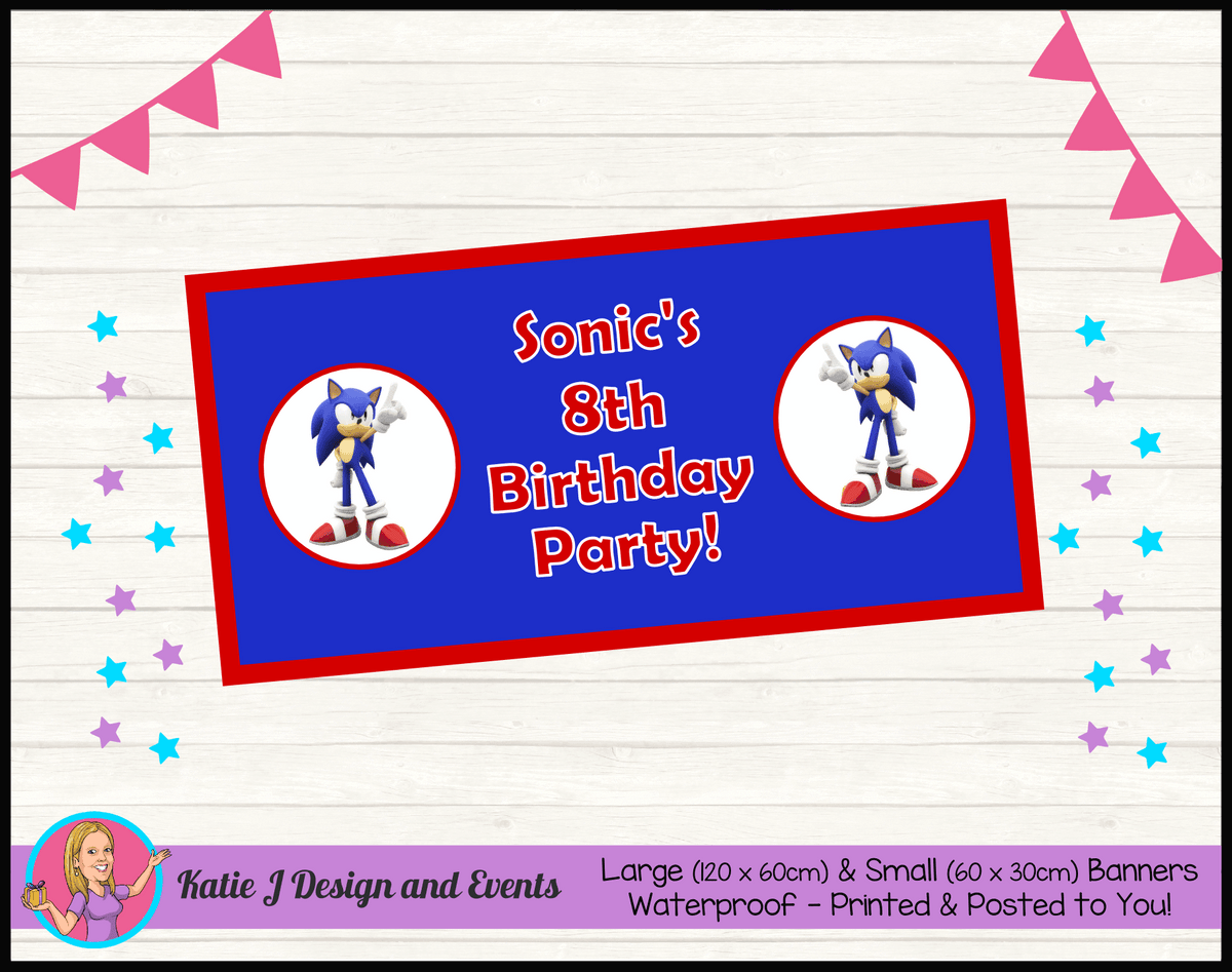 Personalised Sonic the Hedgehog Birthday Party Banner