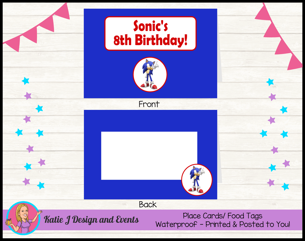 Personalised Sonic the Hedgehog Party Place Cards