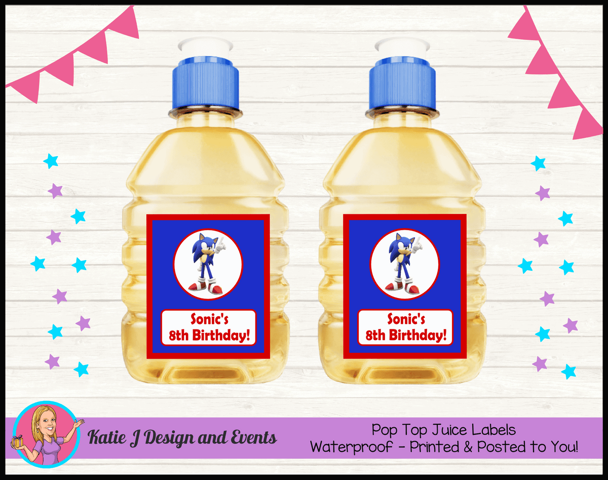 Personalised Sonic the Hedgehog Pop Top Juice Labels