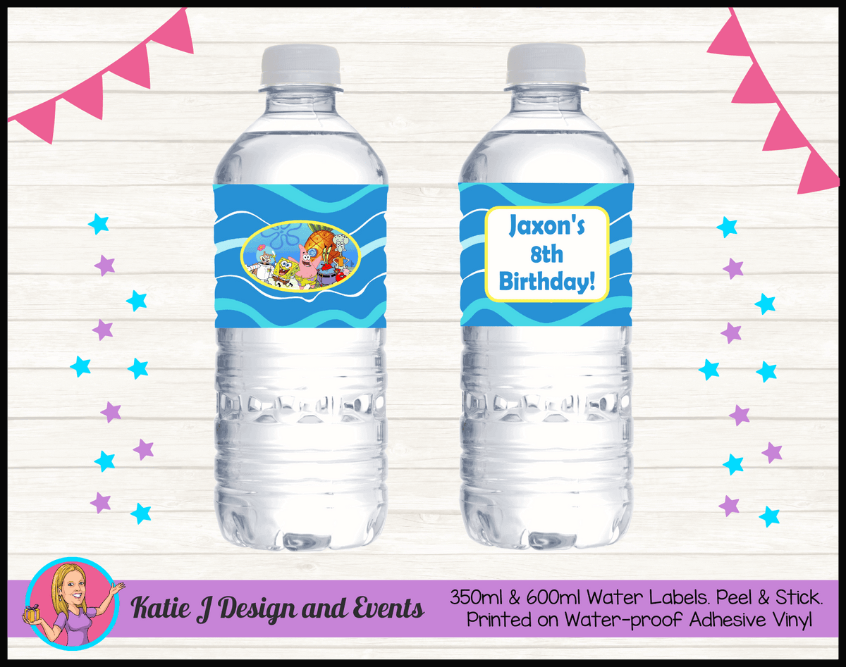 Personalised Spongebob Birthday Party Water Labels