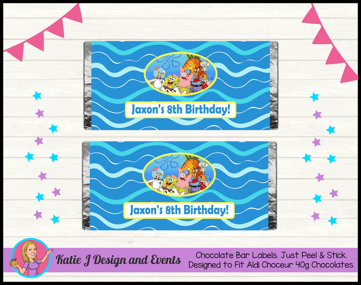 Personalised Spongebob Birthday Party Chocolate Labels Wrappers