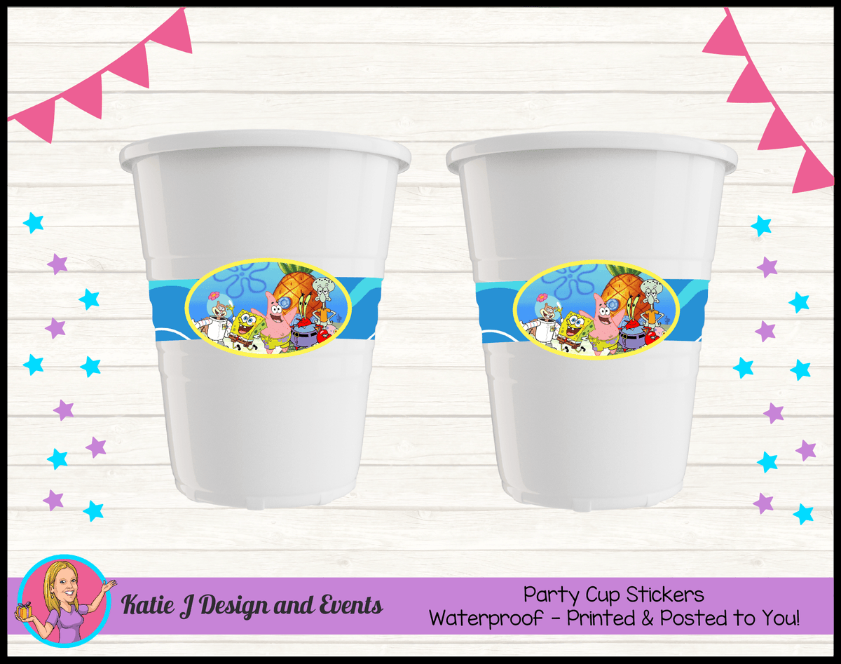 Personalised Spongebob Party Cup Stickers Cups
