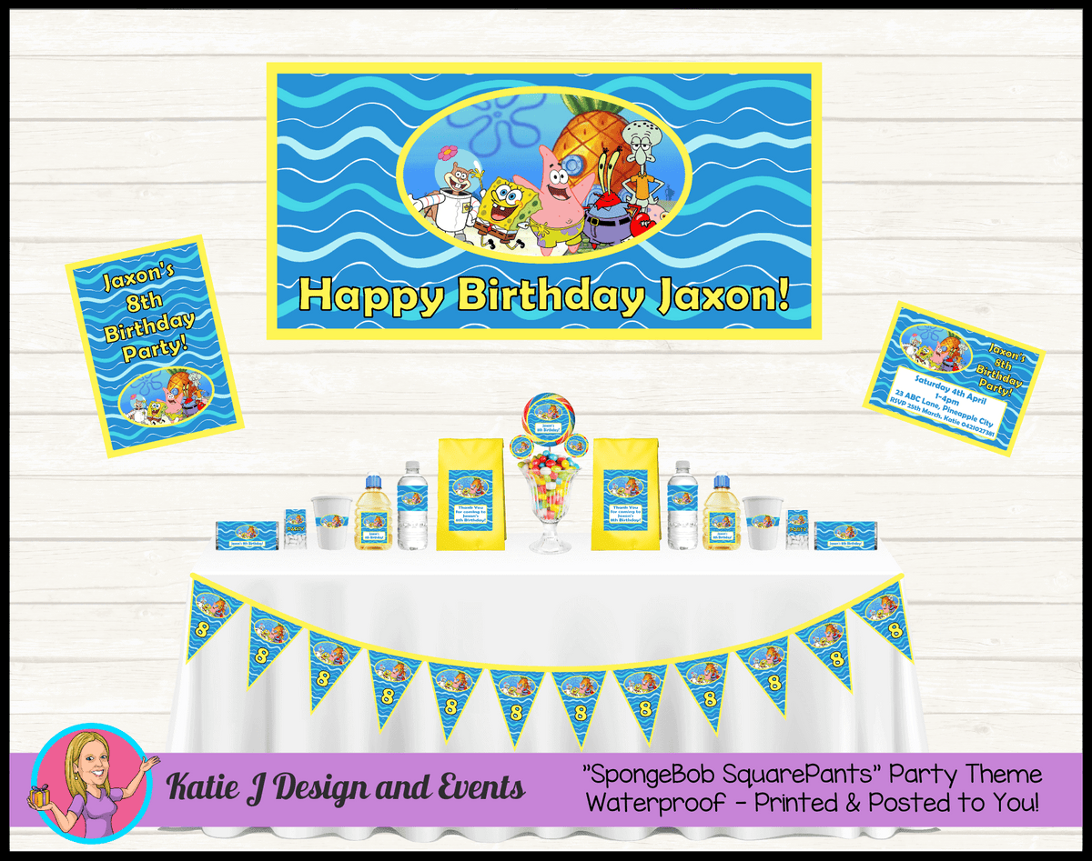 Personalised Spongebob Party Packs Decorations Supplies
