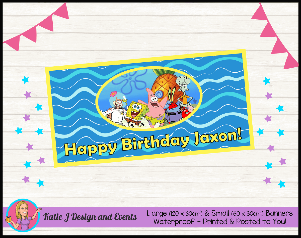 Personalised Spongebob Birthday Party Banner