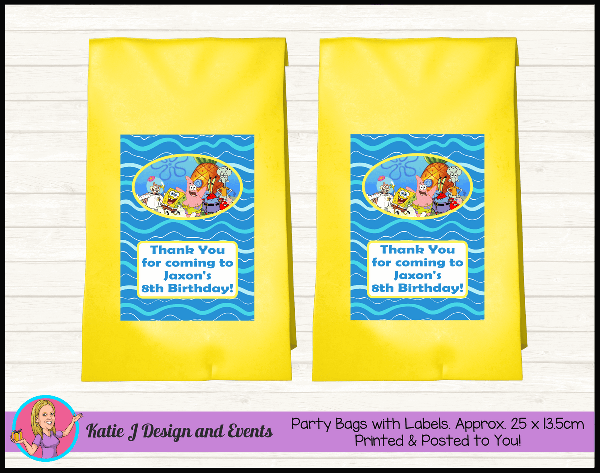 Personalised Spongebob Birthday Party Loot Bags