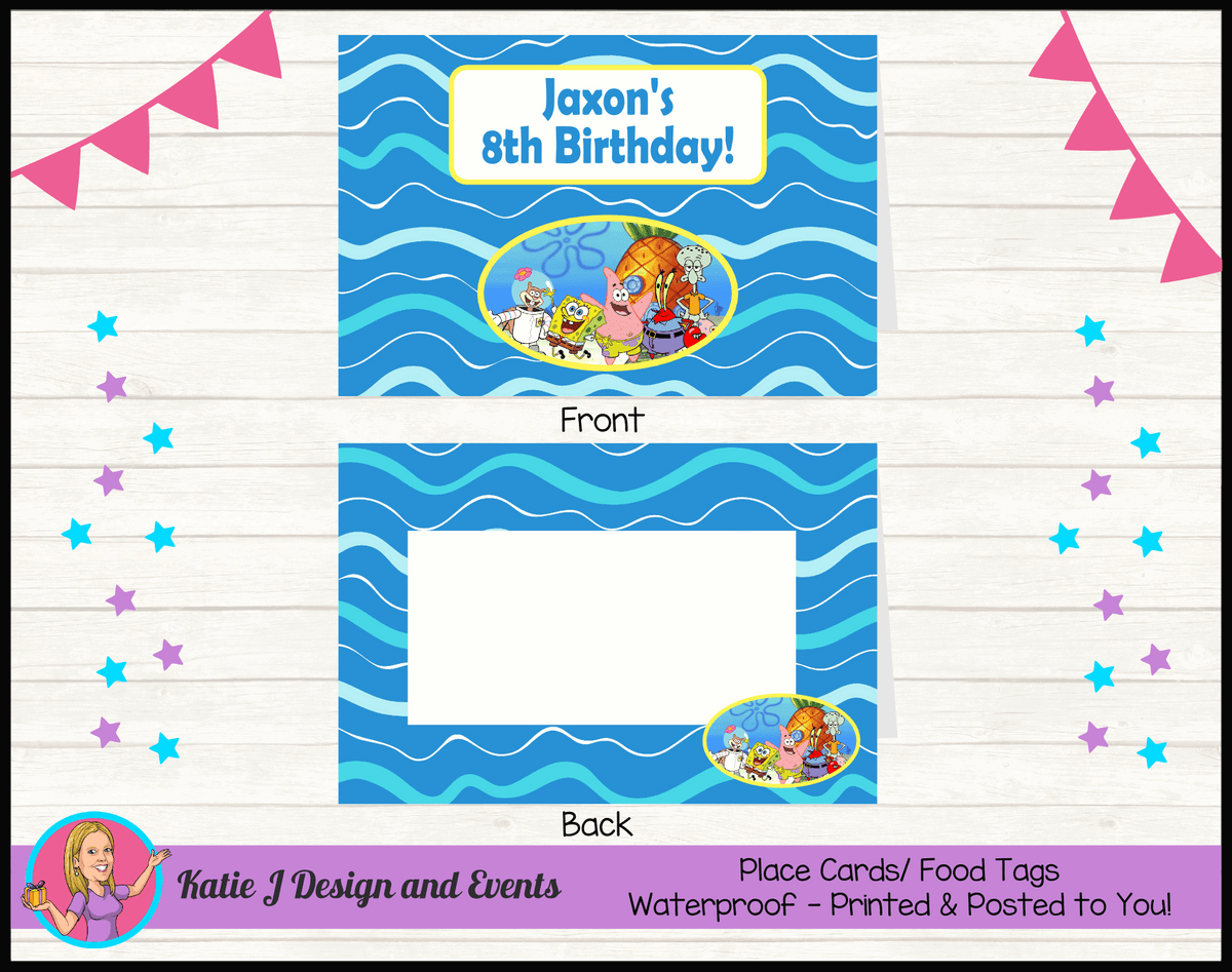 Personalised Spongebob Party Place Cards