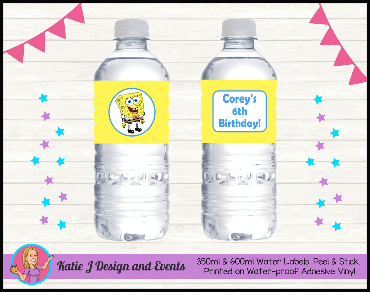 Personalised Spongebob Squarepants Water Labels
