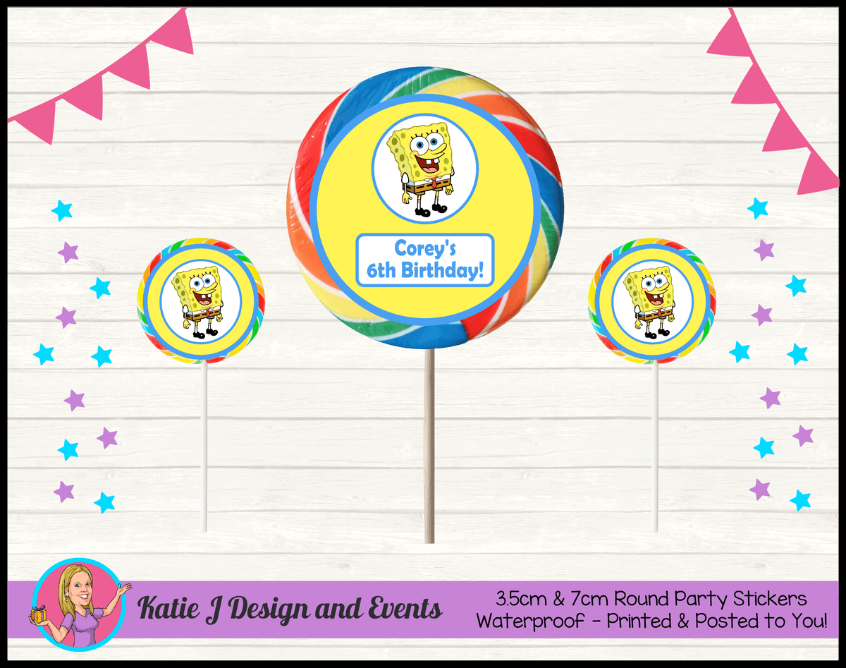 Personalised Spongebob Squarepants Round Lollipop Stickers
