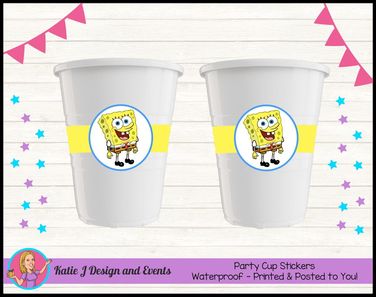 Personalised Spongebob Squarepants Party Cup Stickers Cups