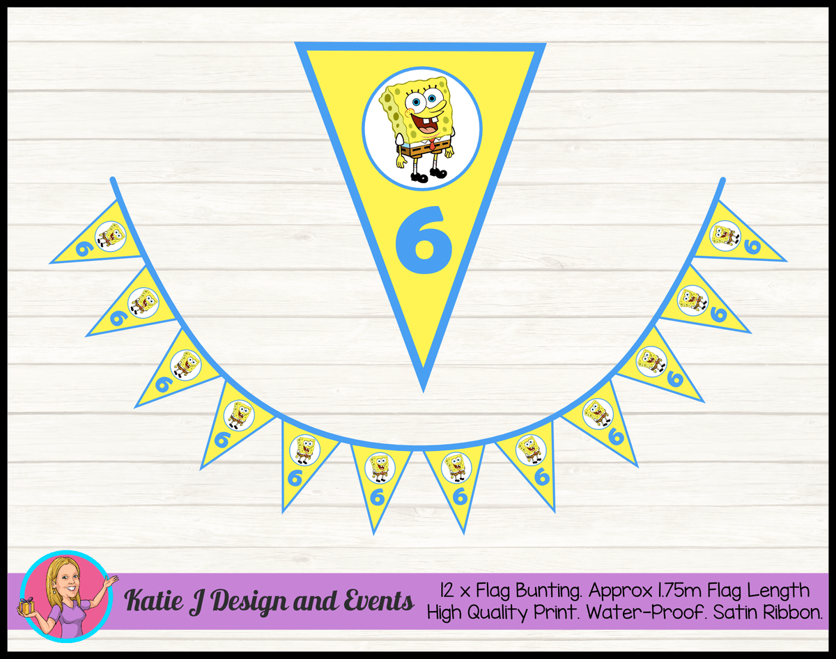 Personalised Spongebob Squarepants Birthday Party Flag Bunting
