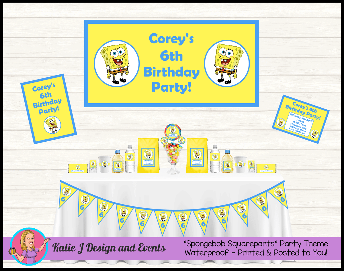 Personalised Spongebob Squarepants Party Packs Decorations Supplies