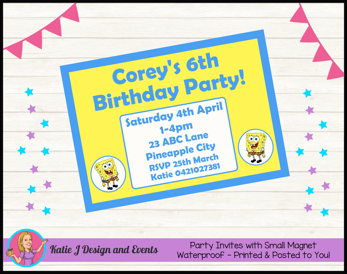 Personalised Spongebob Squarepants Birthday Party Invites Invitations