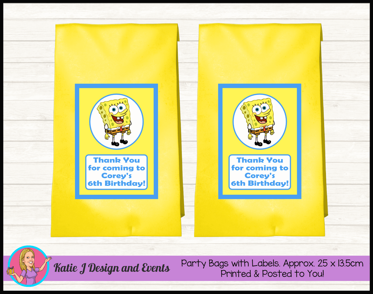 Personalised Spongebob Squarepants Birthday Party Loot Bags