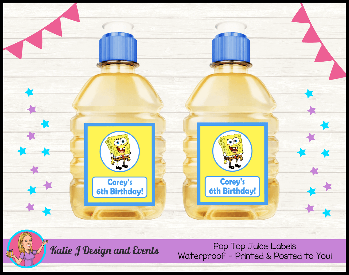 Personalised Spongebob Squarepants Pop Top Juice Labels