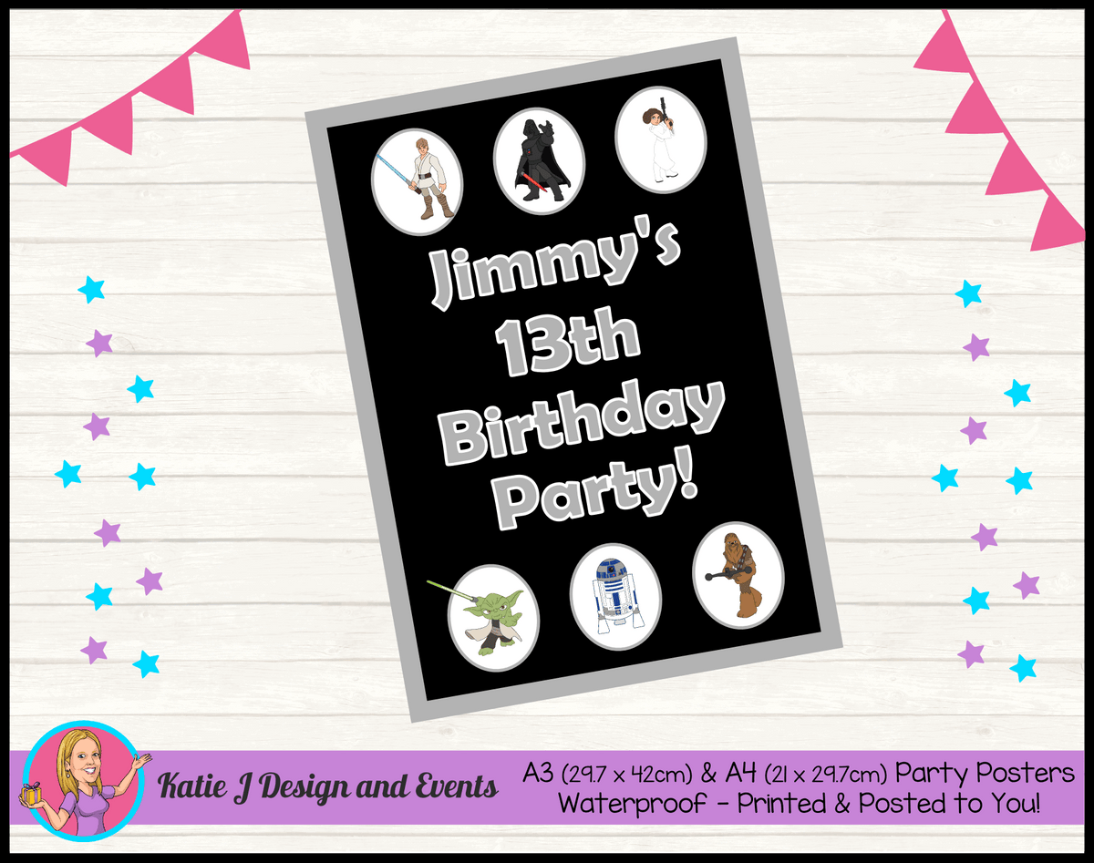 Personalised Star Wars Birthday Party Poster