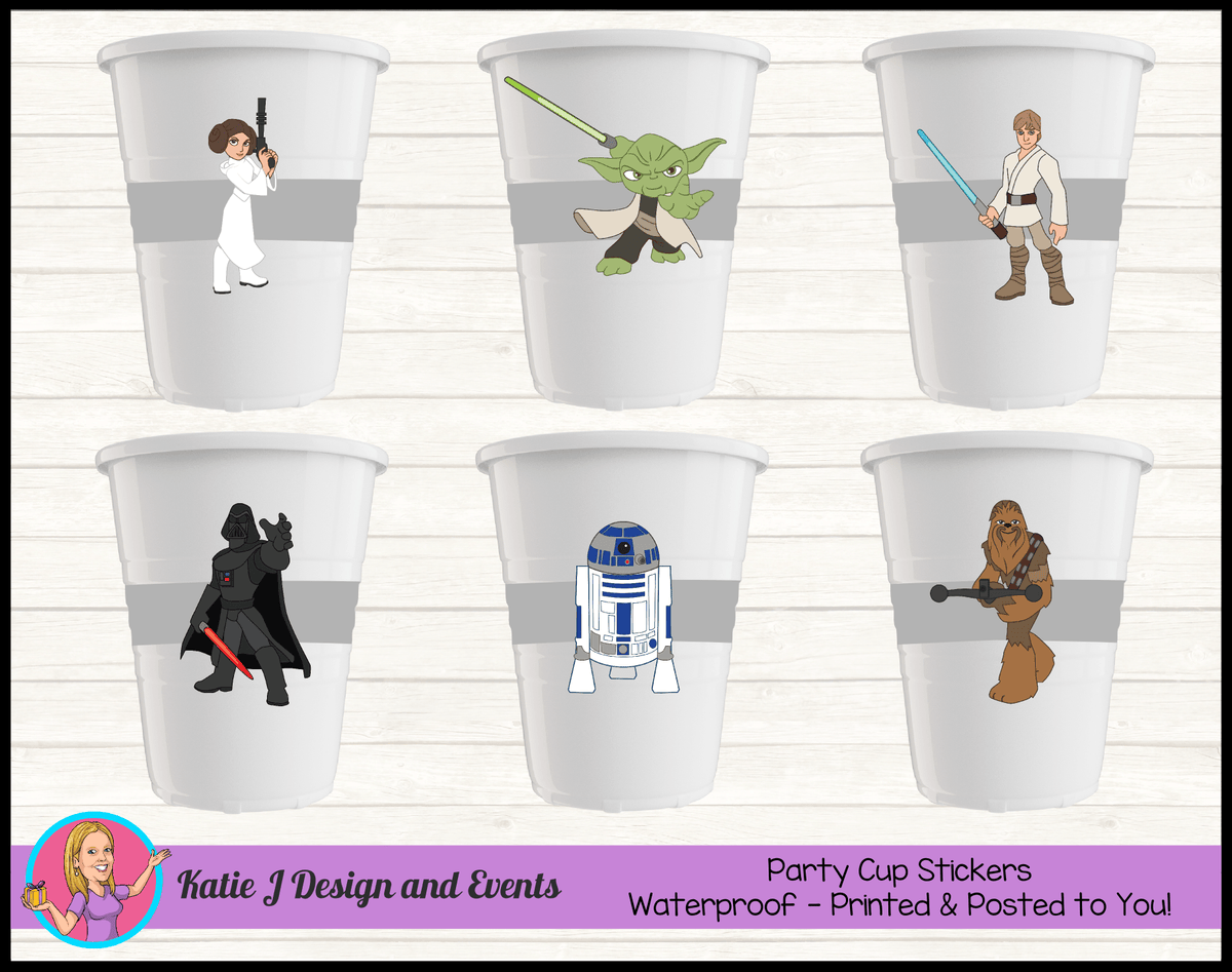 Personalised Star Wars Party Cup Stickers Cups