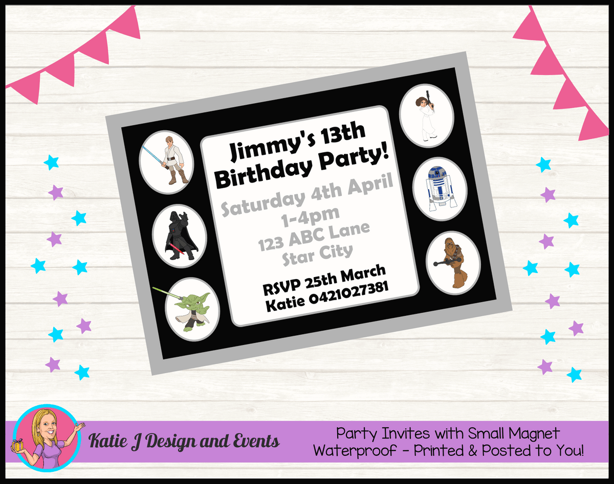 Personalised Star Wars Birthday Party Invites Invitations