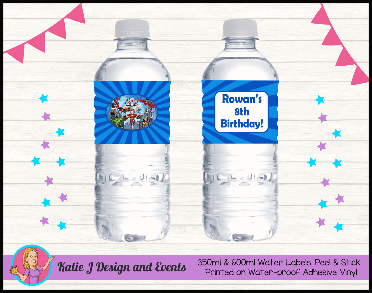 Personalised Superhero Squad Birthday Water Labels
