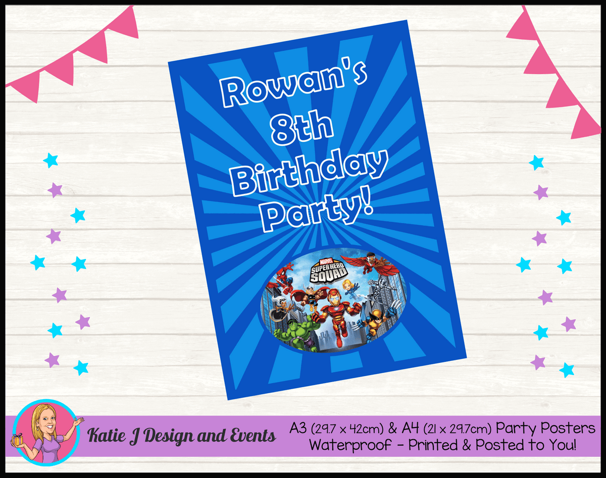 Personalised Superhero Squad Birthday Party Poster