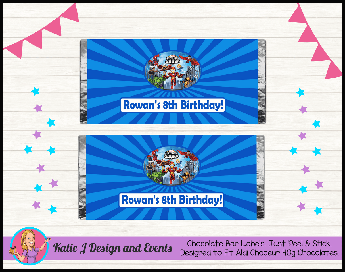Personalised Superhero Squad Birthday Chocolate Labels Wrappers