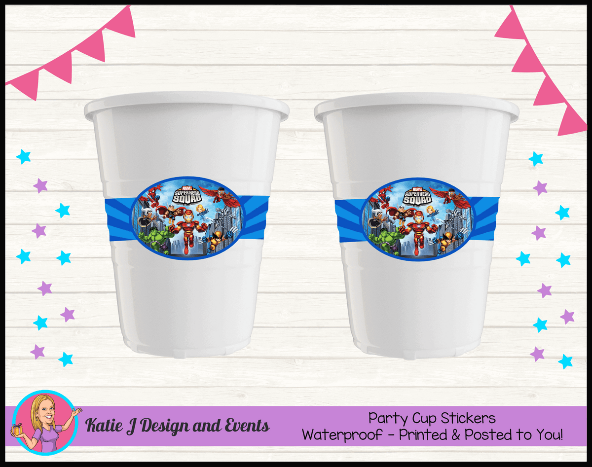 Personalised Superhero Squad Party Cup Stickers Cups