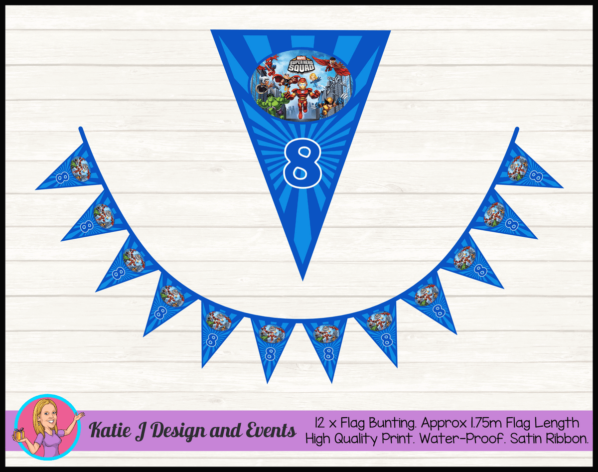 Personalised Superhero Squad Birthday Party Flag Bunting