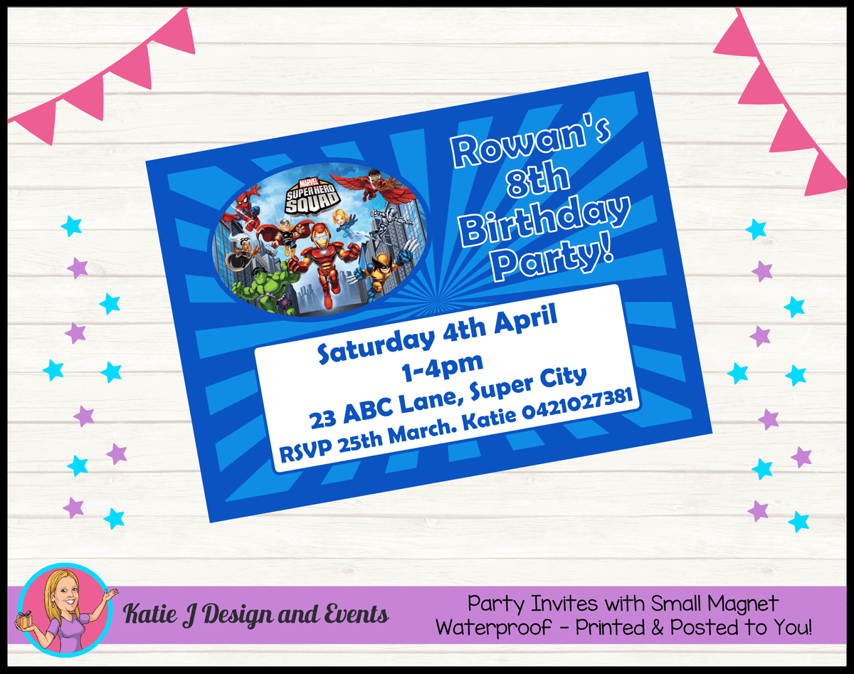 Personalised Superhero Squad Birthday Party Invites Invitations