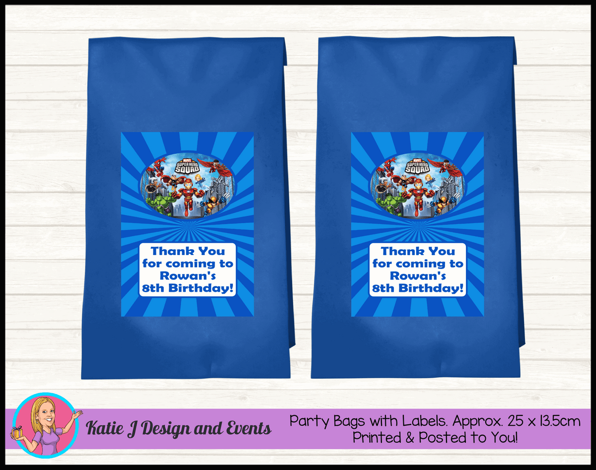 Personalised Superhero Squad Birthday Party Loot Bags