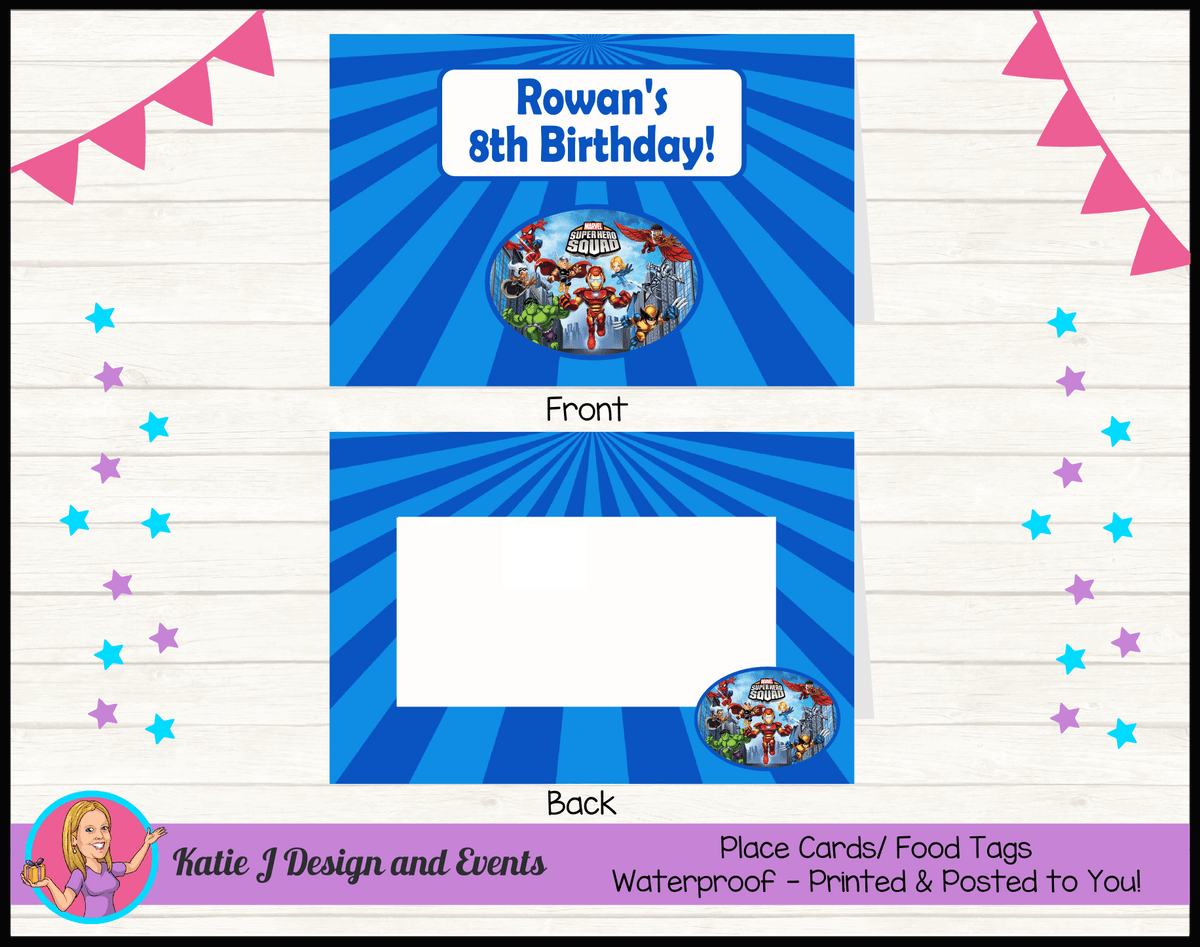 Personalised Superhero Squad Party Place Cards