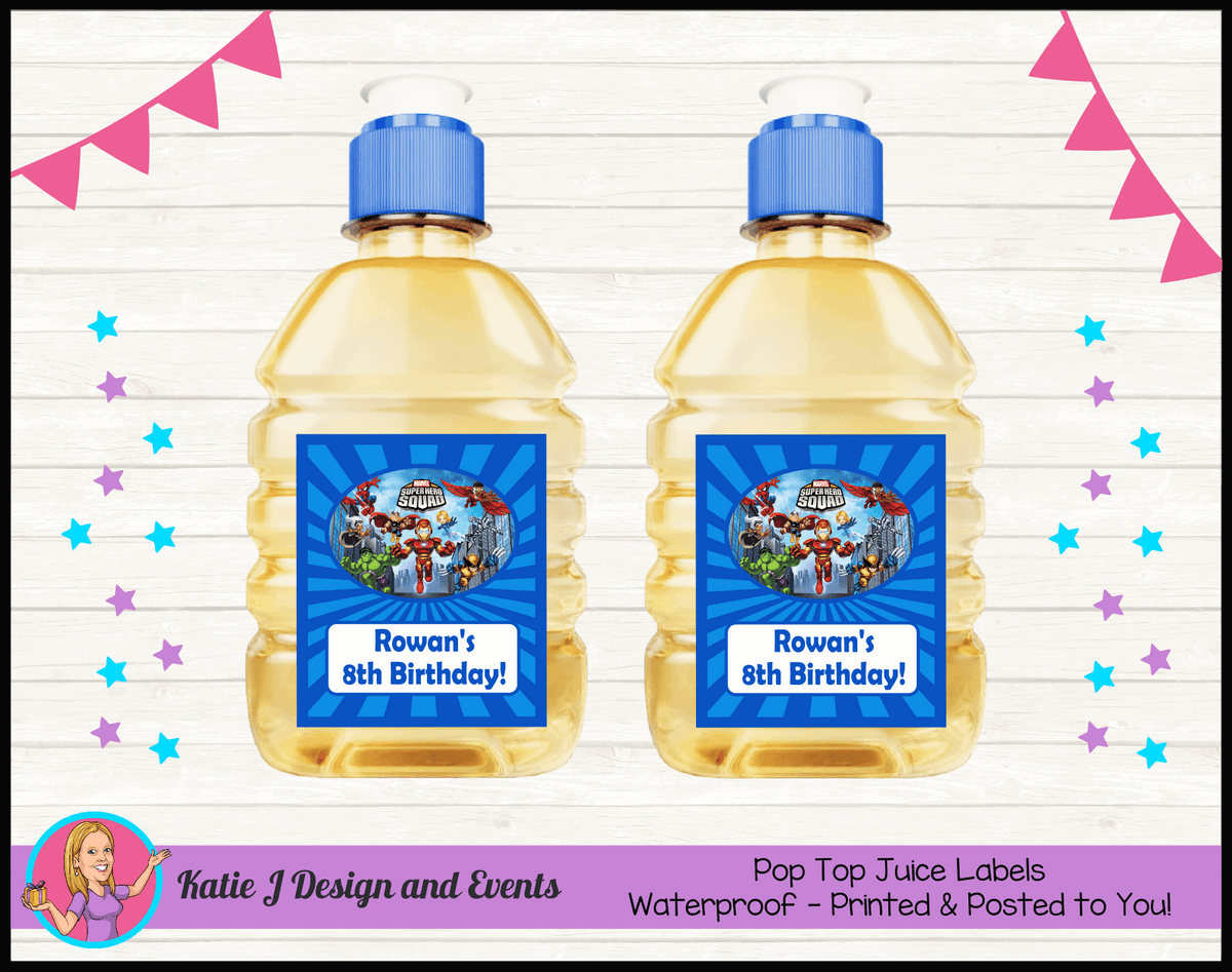 Personalised Superhero Squad Pop Top Juice Labels
