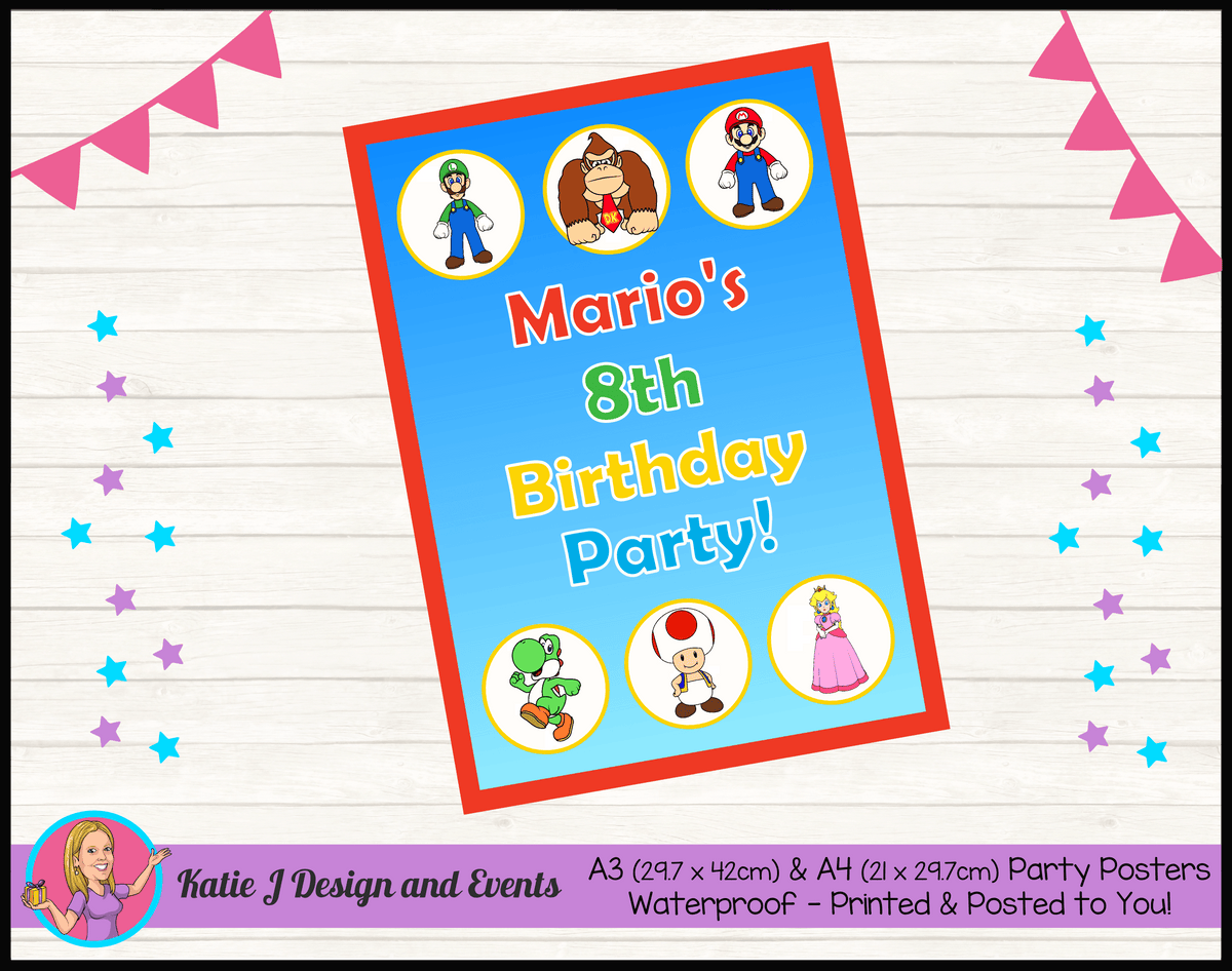 Personalised Super Mario Birthday Party Poster