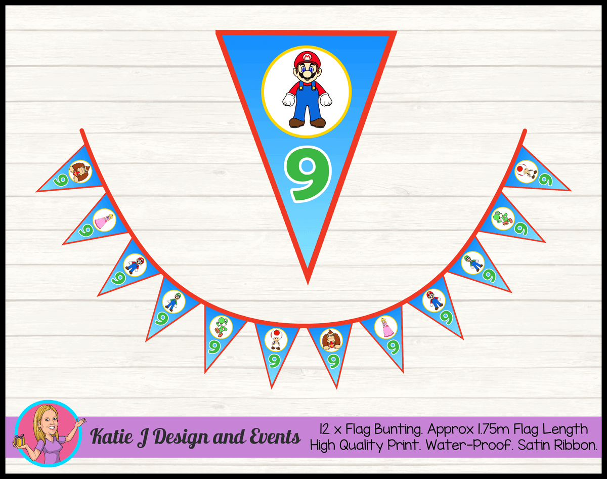 Personalised Super Mario Birthday Party Flag Bunting