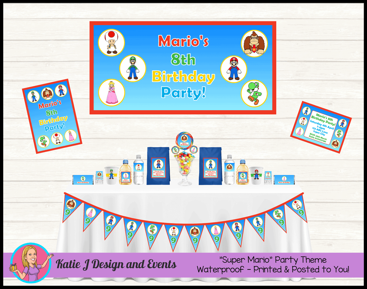Personalised Super Mario Party Packs Decorations Supplies