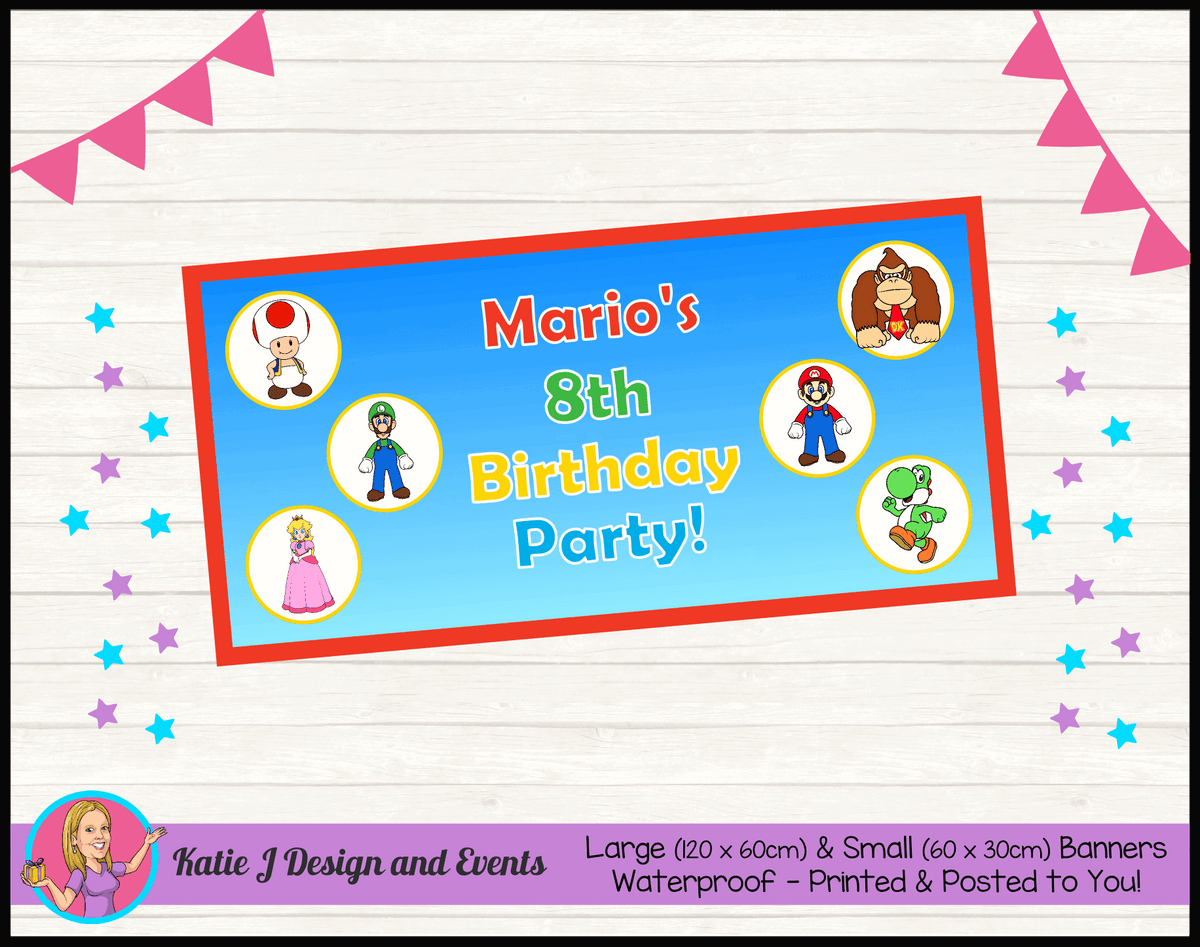 Personalised Super Mario Birthday Party Banner
