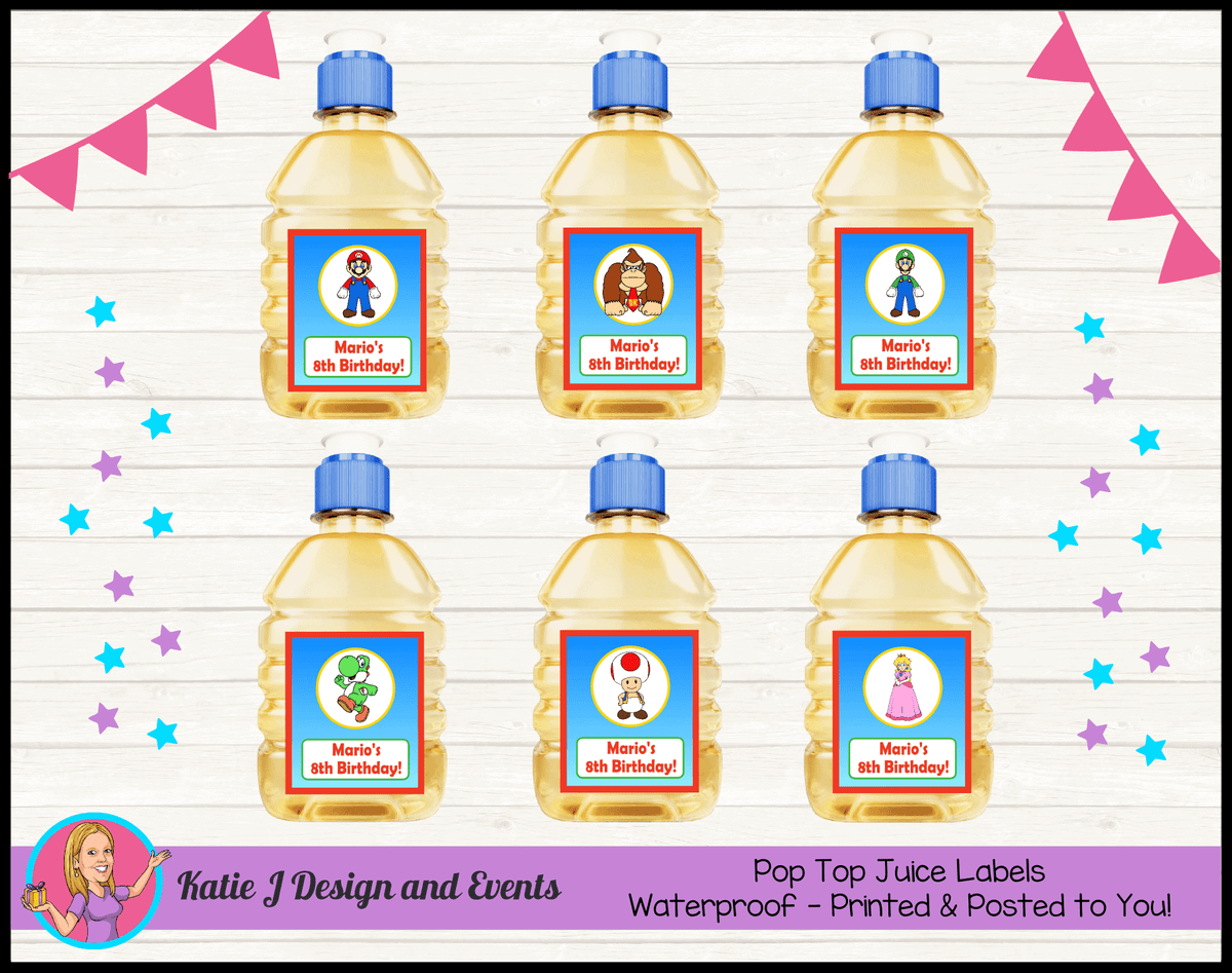Personalised Super Mario Pop Top Juice Labels