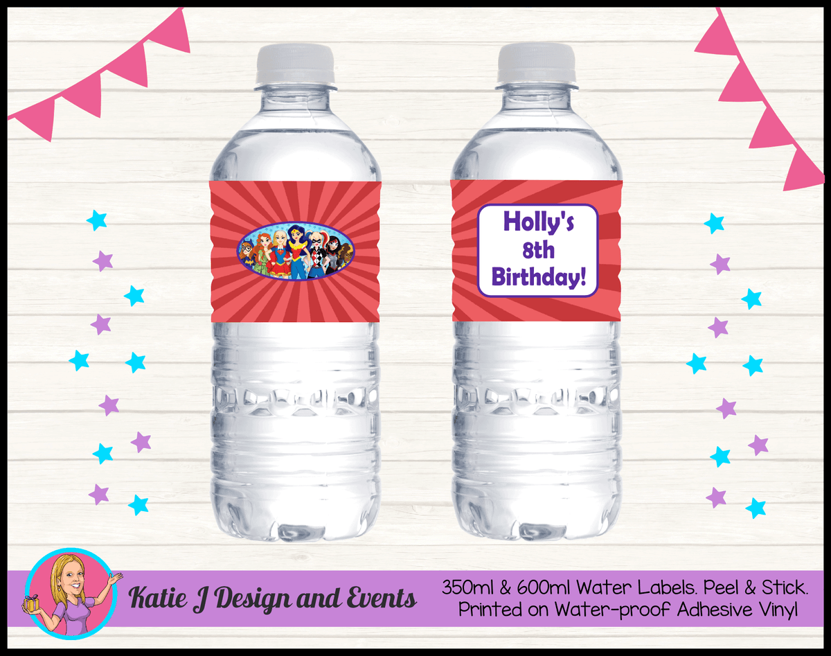 Personalised Girls DC Superheroes Birthday Water Labels