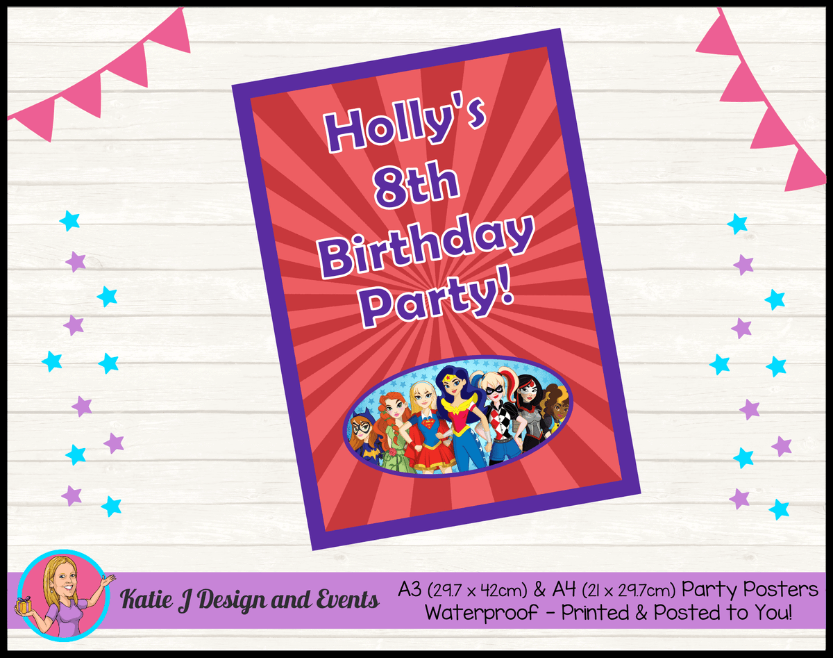 Personalised Girls DC Superheroes Birthday Party Poster