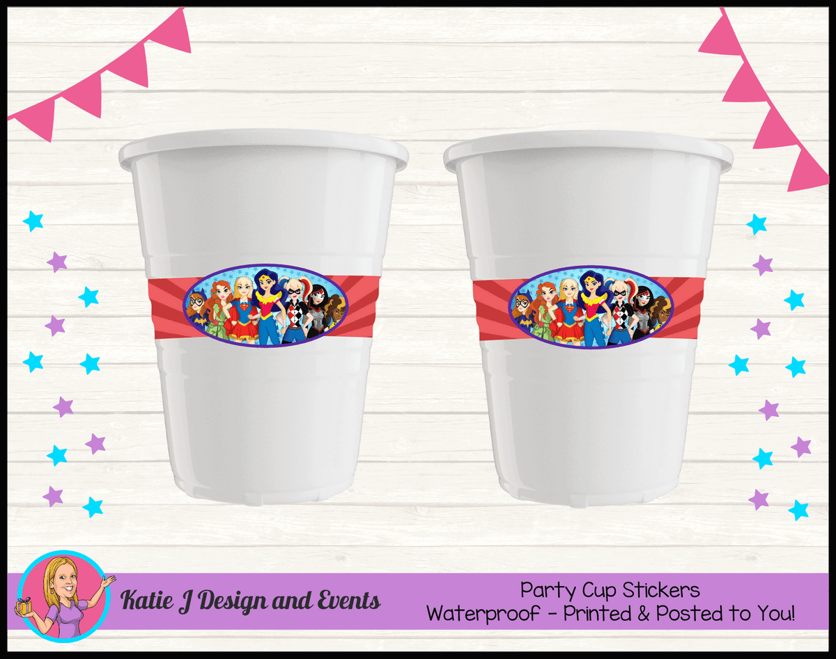 Personalised Girls DC Superheroes Party Cups Cup Stickers