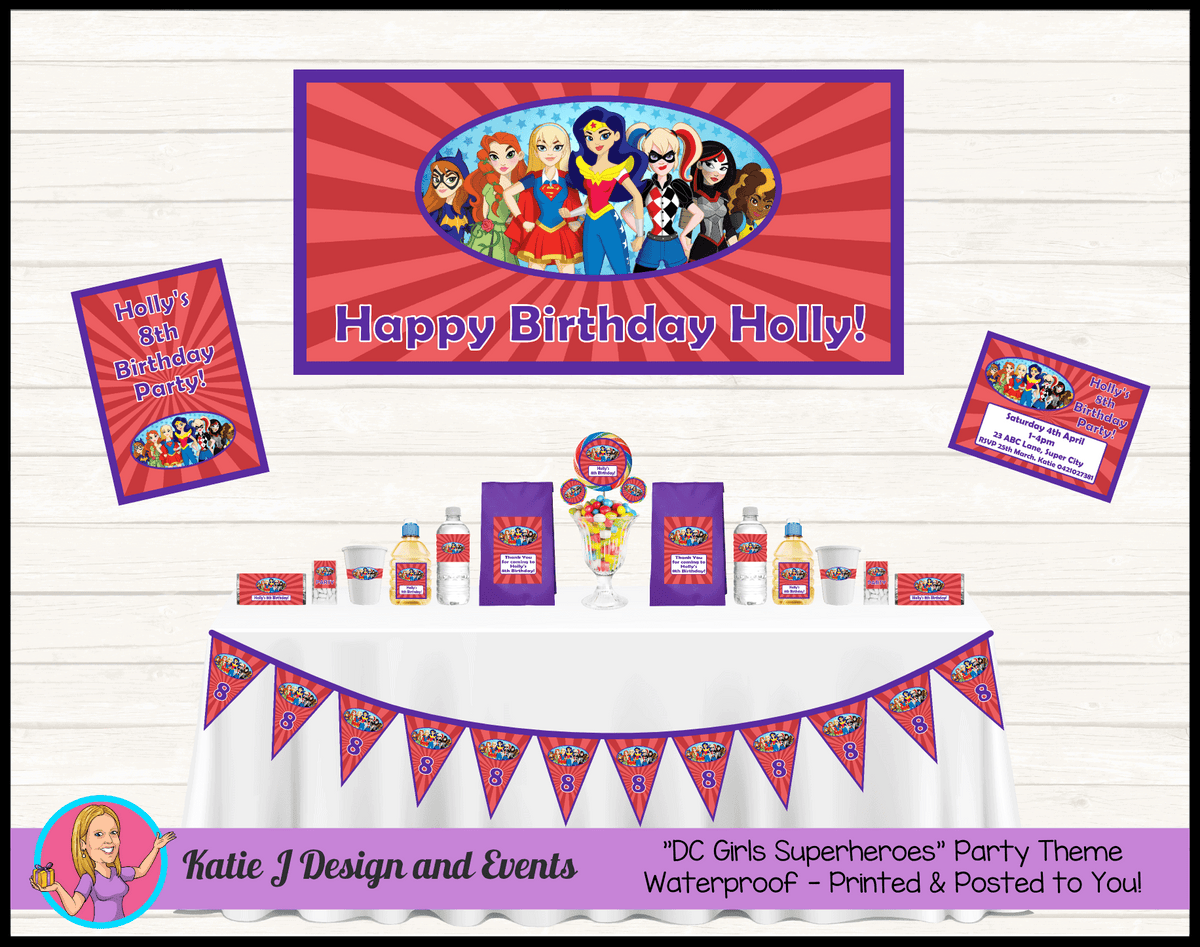 Personalised Girls DC Superheroes Party Packs Decorations Supplies