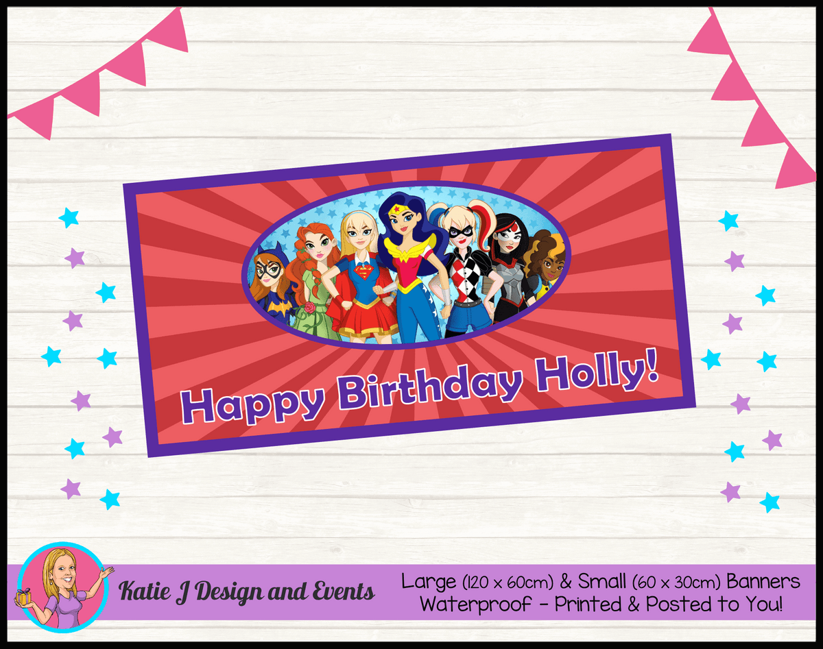 Personalised Girls DC Superheroes Birthday Party Banner