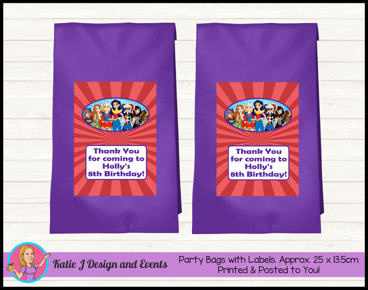 Personalised Girls DC Superheroes Birthday Party Loot Bags