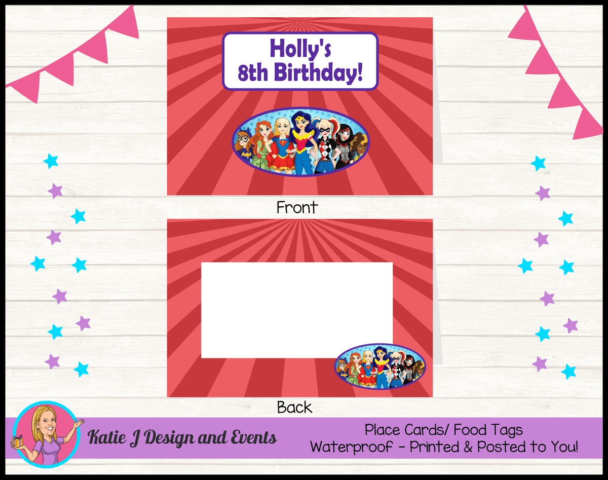 Personalised Girls DC Superheroes Party Place Cards
