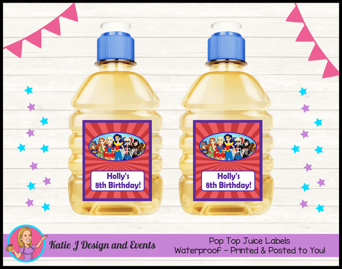 Personalised Girls DC Superheroes Pop Top Juice Labels