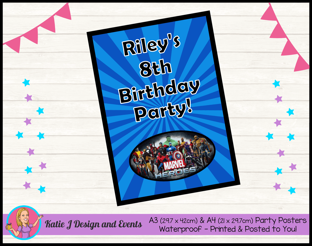 Personalised Marvel Superheroes Birthday Party Poster