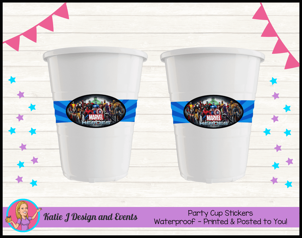 Personalised Marvel Superheroes Party Cup Stickers Cups