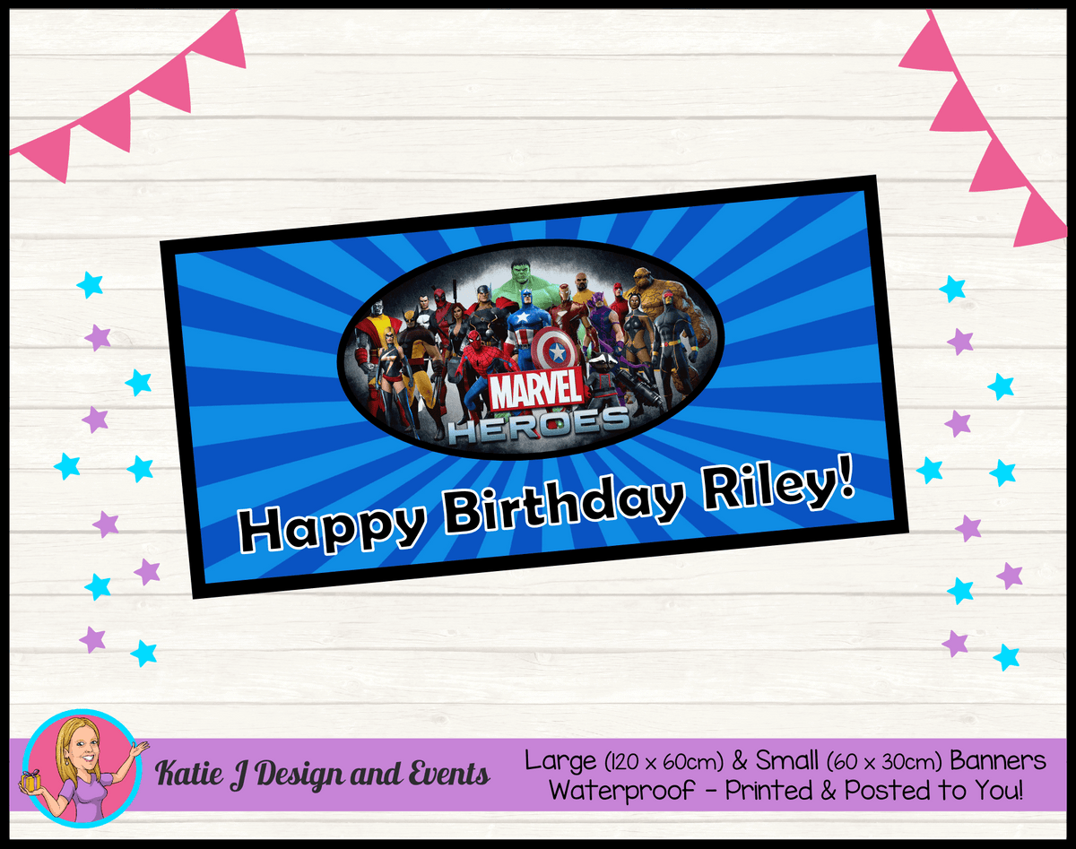 Personalised Marvel Superheroes Birthday Party Banner